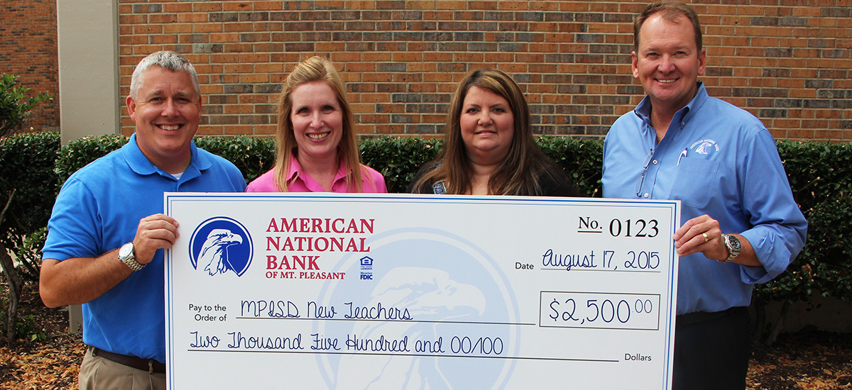 American National Bank Presents Check To MPISD Foundation