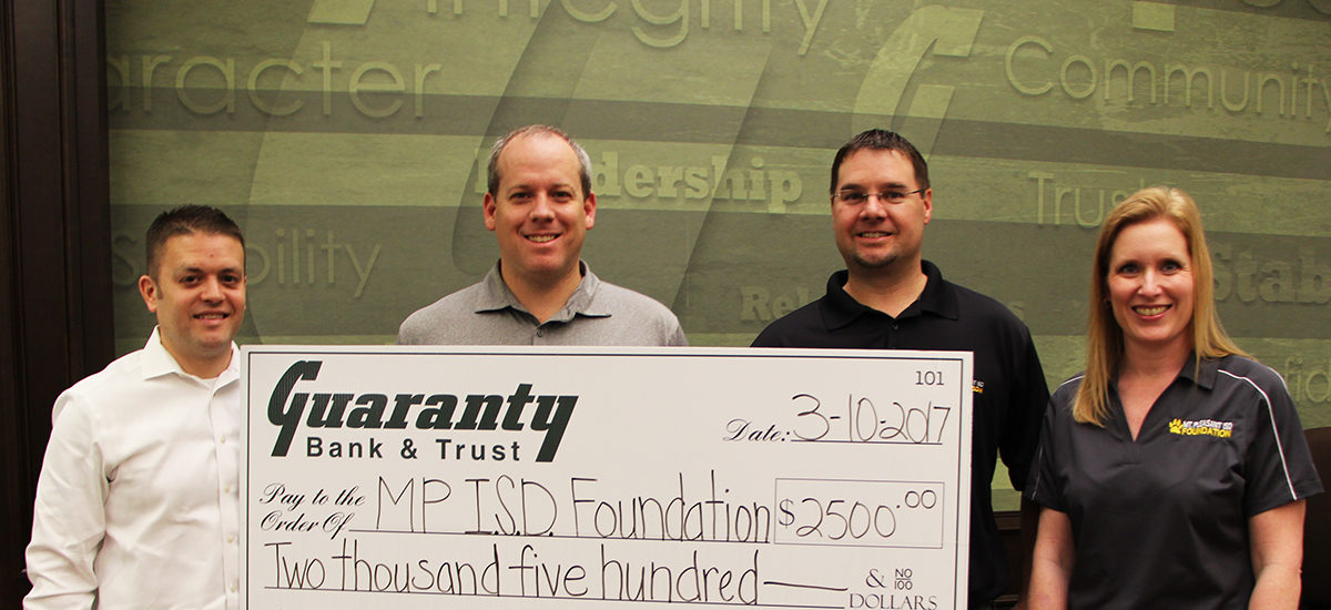 GUARANTY BANK AND TRUST DONATES TO MPISD FOUNDATION